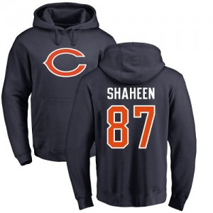 Adam Shaheen Navy Blue Name & Number Logo - #87 Football Chicago Bears Pullover Hoodie