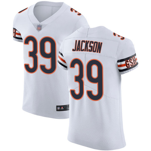 Elite Men's Eddie Jackson White Road Jersey - #39 Football Chicago Bears Vapor Untouchable