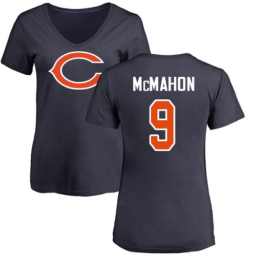 Women's Jim McMahon Navy Blue Name & Number Logo - #9 Football Chicago Bears T-Shirt