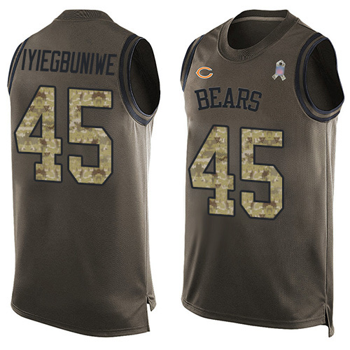 Limited Men's Joel Iyiegbuniwe Green Jersey - #45 Football Chicago Bears Salute to Service Tank Top