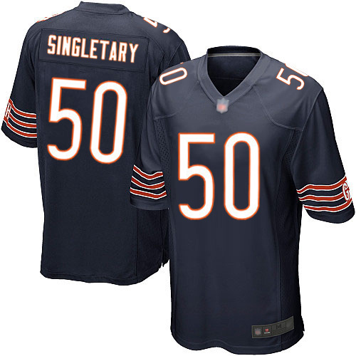 Game Men's Mike Singletary Navy Blue Home Jersey - #50 Football Chicago Bears