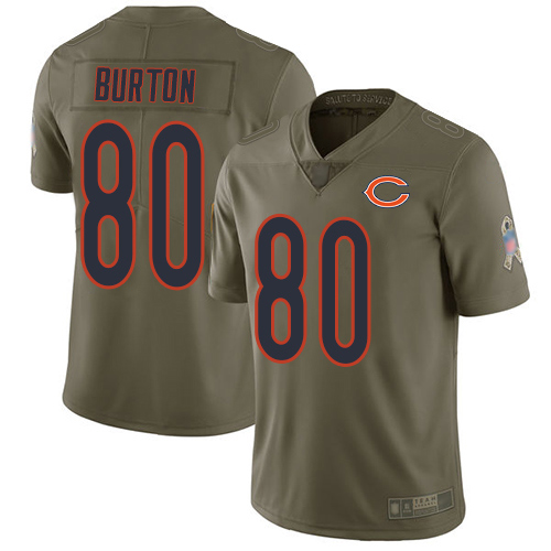 Limited Men's Trey Burton Olive Jersey - #80 Football Chicago Bears 2017 Salute to Service